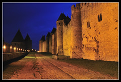 Walls of Carcassonne's Citadel (Guillermo Fdez) Tags: france wall citadel walls bluehour carcassone francia muralla ciudadela carcassonne murallas goldenglobe 5photosaday aplusphoto nikonflickraward