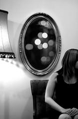 Little Black Dress (victoria.anne) Tags: lamp mirror blackwhite chair winnipeg dress bokeh jaime thefirsttimeihaveeveraddedsomethinginphotoshopthatdidntalreadyexistinaphoto jaimetryingtofindadressforherchristmasparty iactuallytookthisshotinalargemirroronthewall theonlyreasonididwasthereflectioninthemirrorwasterriblesoicameupwiththeideaoftryingtoaddabokehshotitookearlierthatnight atoctober