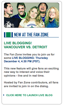 Official Canucks Fan Zone Liveblogging Squad