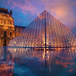 the pyramid of Louvre in Paris