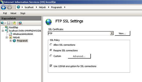 FTP SSL beállítások