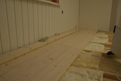 The kitchen floor around noon on Saturday