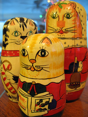 Holiday cats - 12/31/08 (Valerie Peters) Tags: russiannestingdolls giftfrompamsgirlstokirstieyearsago