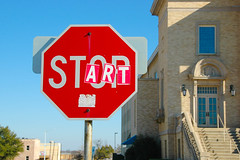 Mixed Messages (Rich Anderson) Tags: 2 sign start altered mixed texas stop messages 2009 denton 2009365