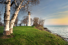 Point Aux Barques Lighthouse - Port Hope , Michigan (Michigan Nut) Tags: trees usa clouds sunrise geotagged photography wideangle greatlakes coastline lakehuron birchtree michiganlighthouses huroncounty pointeauxbarqueslighthouse pointauxbarqueslighthouse michigannutphotography nikon1635mmf4gedafsvrwideanglezoomlens