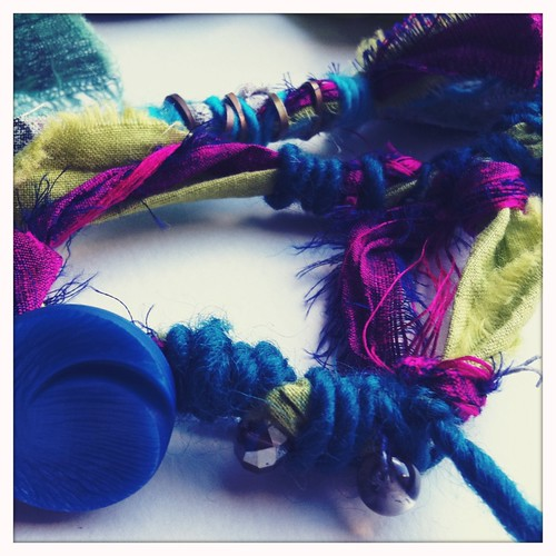 hand dyed fabric & thai silk pieces for my new jewelry collection