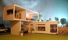 Polly Line's house outdoor photo indoors (pubdoll) Tags: 116 dollhouse dollshouse lundby 116scale modernminiatures 34scale dollhouselighting pollylineshouse