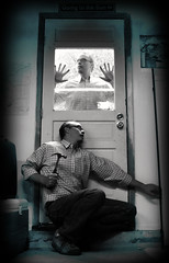 100 | 365 (Randomographer) Tags: door portrait man window glass hammer photoshop self human hide scared clone find doppelganger selfie 365days randomographer rslphotography rslphotographics