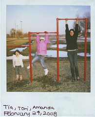 More bars in more places (Kate Pulley) Tags: winter snow amanda playground tia polaroid babysitting tori one600 4615 polaroidone600ultra savepolaroidcom thepicturesgraytori ohpolaroid