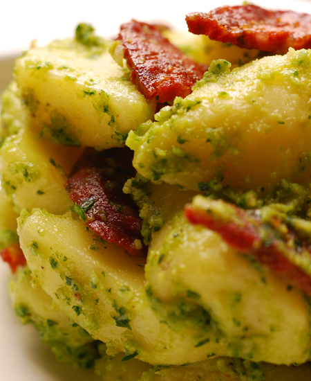 Kipfler Potato Salad with Parsley Pesto and Chorizo