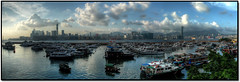 Typhoon Shelter ( Divine Rapier) Tags: leica blue sky panorama hk cloud sun island lumix hongkong bay town blog panasonic hong kong shelter hdr hkg typhoon causeway linked phoon  dlux3  lx2 leicadlux3 vfav hkhdr