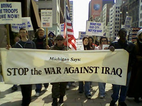 Detroit demonstration on March 15, 2008 against the 5th anniversary of the invasion and occupation of Iraq. The march was sponsored by MECAWI and MCHR. (Photo: Abayomi Azikiwe). by Pan-African News Wire File Photos