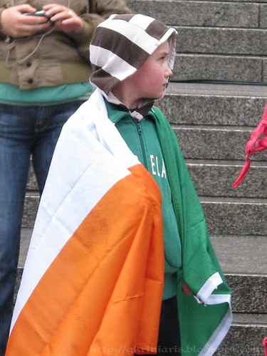 Boy with Irish flag