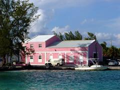 Pink harbour building in Bimini (mattk1979) Tags: pink building church dock bahamas bimini