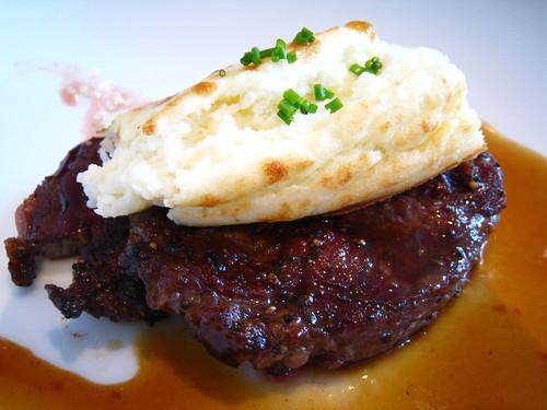 Steak with Truffle Potato Souffle