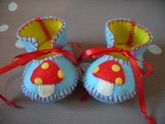 light blue and yellow handmade baby booties with red mushrooms motifs (Funky Shapes) Tags: flowers baby thread mushrooms shower shoes handmade unique oneofakind felt zapatos gift kawaii bebe ribbon accessories etsy maryjanes regalo booties wholesale botas slipers dawanda