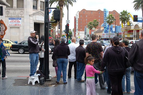 Chris Stoplight Preaching on Hollywood Blvd