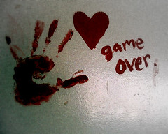 game over (deafeningly) Tags: red blood hand heart gameover bigbrowneyes handprint redpaint editedbyrow ilovethisd