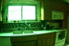 (Julia Balestrieri) Tags: green kitchen wisconsin sink fisheye stove faucet microwave zenitar wi coffeemachine cabinets racine greentint woodencabinets