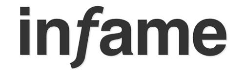 Texto de infame escrito en Helvetica y la f en Trebuchet