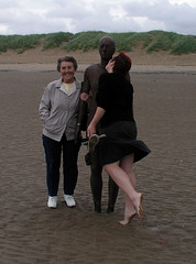 Helen and her great-aunt Vera with Antony Gormley's Another Place, Crosby Beach, Liverpool. (carmen_seaby) Tags: liverpool antony gormley crosbybeach