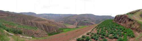 Terraced hills west of Huinishan, Gansu Province, China