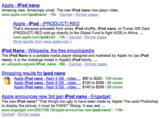 Google Product Results in Search Results