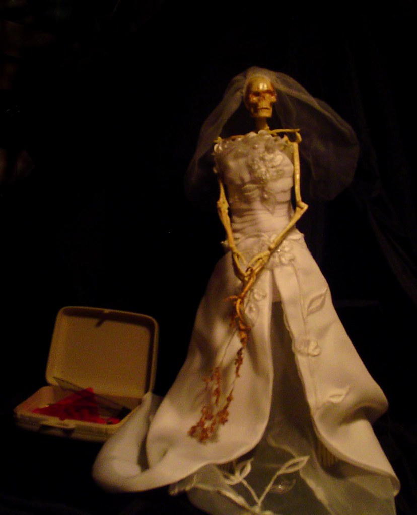 Worth Waiting For or True Love Waits | mixed media (skeleton model dressed in wedding dress, holding a dead bouquet)