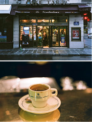 cafe tabac (bobby stokes) Tags: paris france film coffee rollei cafe diptych fuji 1600 tabac fujifilm analogue rollei35 fujicolor rollei35s