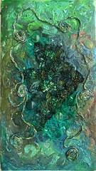 Danger at sea (Karen Cattoire) Tags: original abstract art texture collage handmade lace originalart creation fabric fiberart beading fibers acrylicpaint textileart tissu abstrait textiledart karencattoire fibretextile arttexilte