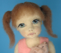 Needle Felted Girl Sarah Close Up (Zada Creations) Tags: sculpture rabbit bunny art wool felted doll handmade needle needlefelting artdoll fiberart fiber creations artistdoll zada needlefelted woolsculpture zadacreations