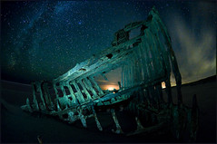 Astoria Night Shoot  Peter Iredale drifting below the stars (victorvonsalza) Tags: longexposure 3 lightpainting oregon stars nightshot flash fisheye shipwreck lyra constellations peteriredale milkyway altair warrenton d300 sagitta fortstevensstatepark vle thecoathanger nikonsb24 fullframefisheye nikon105mmfisheye nikond300 summerqtr cr399 astorianightshoot exposureblendusingmasks