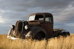 Rusty old 1939 Ford Truck Edit (dave_7) Tags: sky ford field clouds truck rust decay farm rusty alberta paintshoppro 39 1939 edit
