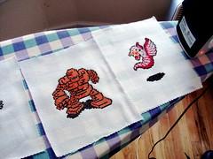 Ironing 2 (benjibot) Tags: crossstitch crafts videogames nes dragonwarrior golem wyvern
