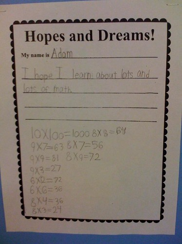 Adam's hopes and dreams for second grade