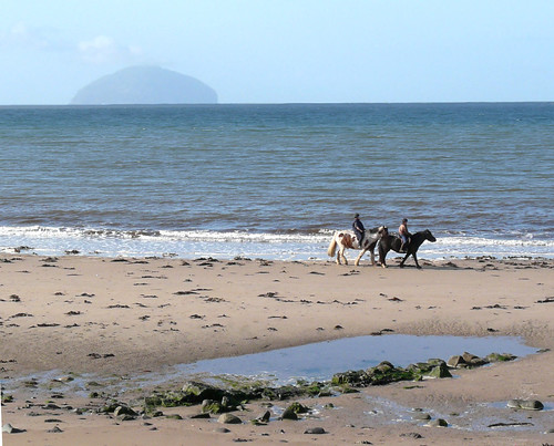 Riders on te shore at Maidens