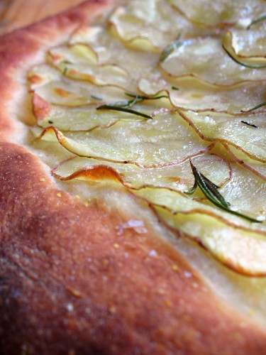 pizza with potatoes, rosemary and maldon salt