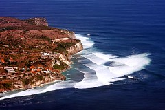 Bali (Mangiwau) Tags: ocean blue sea bali cliff white indonesia spectacular asian asia paradise surf waves indian wave aerial southern uluwatu breakers swells swell indonesian breathtaking garuda headland mushy pounding pumping cliffside onshore earthasia