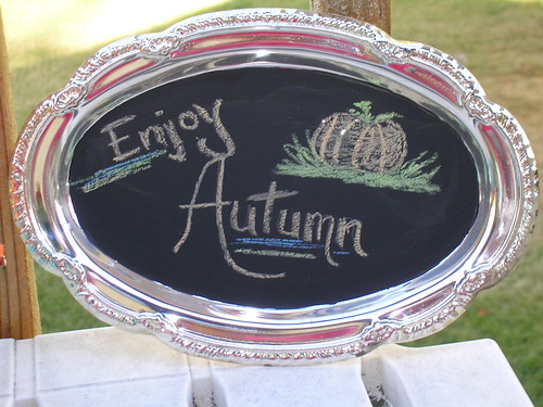 silver platter painted with chalkboard paint - w/added artists drawing! ;-)