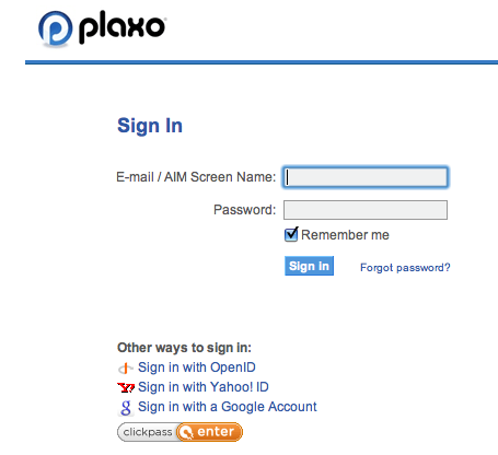Plaxo Signin Screen