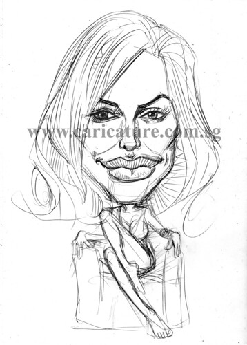 Celebrity caricatures - Angelina Jolie pencil sketch watermark