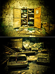 Buy, trash, employ, fire, work and pay (Stphane Giner) Tags: urban france texture french office decay ibm revolution capitalism dust exploration anti decaying stephane typewritter brownfield urbex giner industrielle fuckthesystem friche machinecrire cowebs oldschooldigital