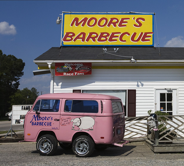 pink sky food colors sign museum vw restaurant weird nc funny colorful humor gray bluesky bbq customized barbeque kenly mayberry capefearriver customvehicle mooresbarbecue volkswagenshortbus