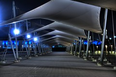 Under Cover (baldrick2dogs) Tags: blue white night canvas canopy hdr jol doha qatar twop khalifastadium flickrlovers qlpesets03