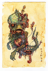 Lively One (ojimbo) Tags: baby monster drawing outsider decay alien birth mother surreal creepy horror corpse oddity parasite lowbrow freakshow putrid feejeemermaid ojimbo fejee