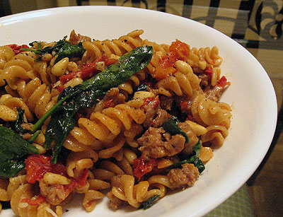 Rotini with Sausage and Spinach