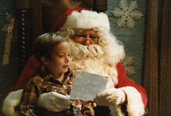 Me Reading My Christmas List to Santa Claus