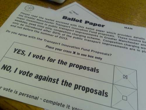 Ballot paper for the Manchester TIF referendum