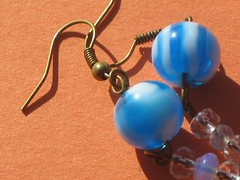 plastic blue and white earrings