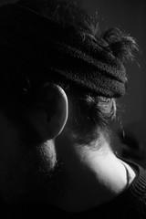 elegante trascuratezza (andrea pi) Tags: light blackandwhite bw white black hair neck beard blackwhite belt bn ear ric bianco nero luce barba biancoenero capelli nape fascia nuca orecchio collo profilo